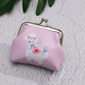 Cute Unicorn Flamingo Cactus Alpaca Printed Coin Purse for Women Girls Cartoon Pattern Wallet Bag Zipper Coin Purse