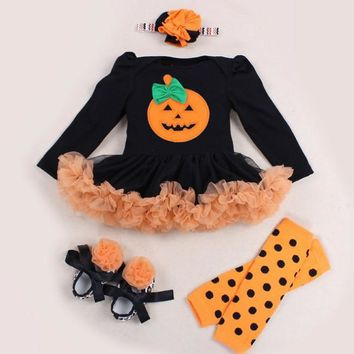Baby Girls Halloween Outfits Infant Clothing Set Lace Romper Dress Leg Warmer Shoes Headband Suit Newborn Infant Pumpkin Clothes