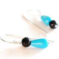black onyx and turquoise earrings , mismatch silver earrings , turquoise drop earrings , blue & black quirky jewelry , funky sterling silver