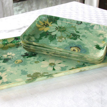 Vintage Fiberglass Serving Tray Set Flower Pattern