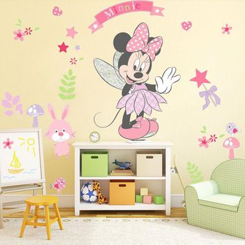 DIY Minnie Mouse Wall Sticker Vinyl Art PVC Cartoon Wall decal For Kids Bedroom adesivo de parede Nursery Room Decoration