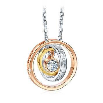 """""""I Love You Mom"""" Engraved Script Trinity Ring Pendant Necklace Made with AAA Cubic Zirconia"""