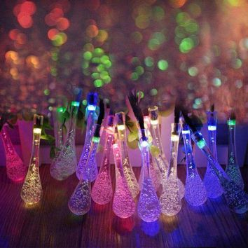 PEAPUNT 5m Solar Powered Water Drop String Lights LED Fairy Light 20LED for Wedding Christmas Party Festival Outdoor Indoor Decoration
