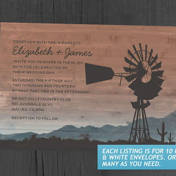 Western Windmill Wedding Invitations
