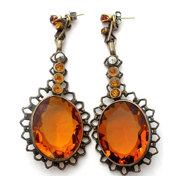 Art Deco Czech Citrine Glass Earring Jackets