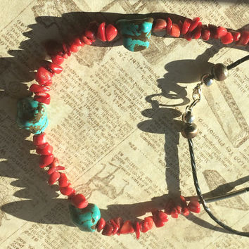 Southwest style necklace with turquoise and red coral Boho necklace