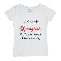 I Speak Spanglish-Female White T-Shirt