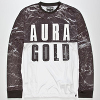Aura Gold Marble Mens T-Shirt White  In Sizes