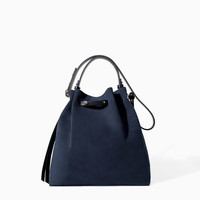 COLOURED LEATHER AND SUEDE BUCKET BAG