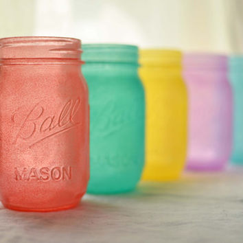 Mason Pint Jars  Pastel Palette set of 5 by willowfairedecor