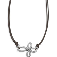 """16"""" Double Strand Leather Cross Fashion Necklace"""