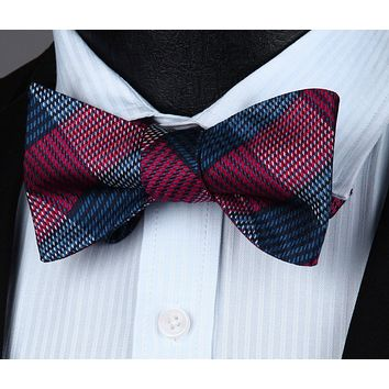 Check Blue Red Silk Self Bow Tie Pocket Square