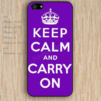 iPhone 6 case keep calm carry on Purple iphone case,ipod case,samsung galaxy case available plastic rubber case waterproof B130