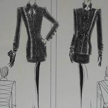 Air Hostess Uniform Fashion Sketch. Fashion Designer Drawing of Little Black Dress.
