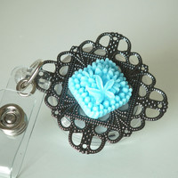ID Badge Reel: Robin's Egg Blue Flower Cabochon on Black Filigree - Flower Badge Reel