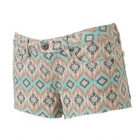 Mudd® Geometric Frayed Shortie Shorts - Juniors