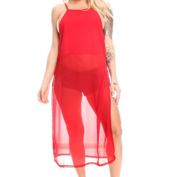 RED SCOOP NECKLINE SPAGHETTI STRAP LOOK SLEEVELESS MESH SCREEN FABRIC LOOK CASUAL TOP