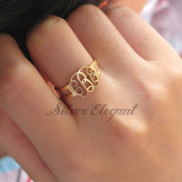 Adjustable Ring - Unique Gift - Name Ring - Monogram Font  - Luxury Fashion - Fine Jewelry
