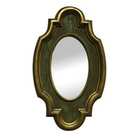 Pre-owned Green & Gold Distressed-Look Accent Mirror