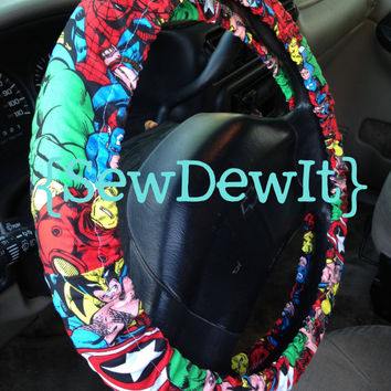 Steering Wheel Cover Marvel Superhero Thor Ironman Spiderman Incredible Hulk Wolverine Captain America Cute Car Accessories Gift for Her Him