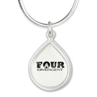 Four Divergent Silver Teardrop Necklace