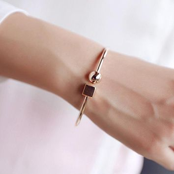 Circle Square Open Bracelet Women Street Taste Geometry Bracelets & Bangles Jewelry Bijoux Rose Gold-color