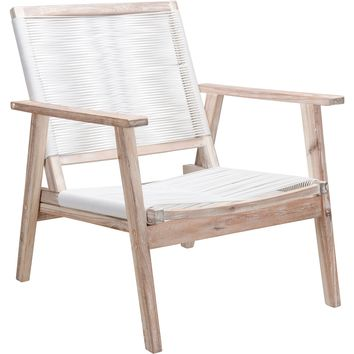 South Port Outdoor Arm Chairs, White Wash & White (Set of 2)