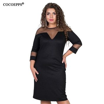 COOEPPS Big Size Women dresses bodycon Sundress Lace Sexy party dress Mesh Clothing Vestidos Plus Size women casual dress
