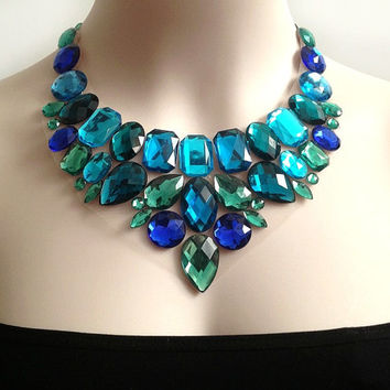 bib peacock colors rhinestone necklace, wedding, bridesmaids, prom, formal event statement necklace
