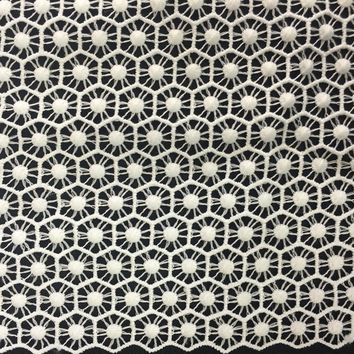 """42"""" Modern Style Guipure Venice Lace Fabric, Honeycomb-like Embroidery, Sold By the Yard, Off White"""