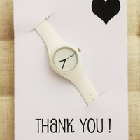 Thank you Gift card Sport Rubber Band Wristwatch Unisex Casual Modern Watch