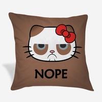 Hello Kitty Grumpy Cat Nope Pillow Case