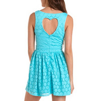HEART CUTOUT LACE SKATER DRESS