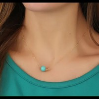 NWOT Turquoise bead w/ gold necklace