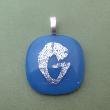 Initial Pendant Initial Glass Pendant Dichroic by mysassyglass