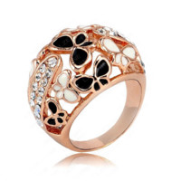 Real Rose Gold Color Beautiful Enamel Butterfly Rings Micro Pave Austria Crystals