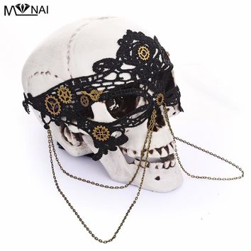 Steampunk Black Women Sexy Lace Eye Mask Party Masks For Masquerade Halloween Venetian Costumes Carnival Gears China Mask Gothic