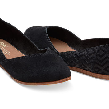BLACK SUEDE DIAMOND EMBOSSED WOMEN'S JUTTI FLATS