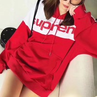 """Supreme"" Casual Fashion Multicolor Letter Print Loose Long Sleeve Thickened Hooded Sweater Tops Women Hoodie Sweatshirt"