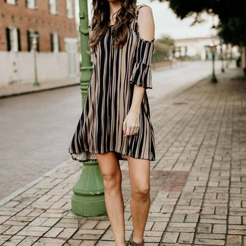 Simply Perfect Stripe Cold Shoulder Dress