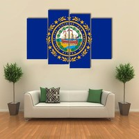 Flag Of New Hampshire Multi Panel Canvas Wall Art