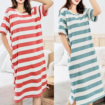 Best selling women's straight dress loose casual striped nightdress long paragraph over the knee home dress