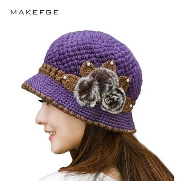 Brand Beanies Knit Women's Winter Flowers Knitted Hat Hand Crochet Beanies knitted Hat  For Women Warm Beanies Female Hat