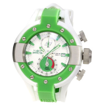 Invicta 13070 Men's S1 Rally Green Bezel White Dial Rubber Strap Chronograph Dive Watch