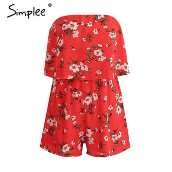 Simplee Off shoulder chiffon red jumpsuit romper women sexy floral print playsuits leotard Boho summer beach lining overalls