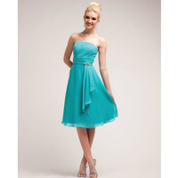 2014 Prom Dresses - Aqua Pleated Chiffon Short Prom Dress
