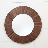 "Circle mirror 27""x27""x1-1/4"" Black Walnut"