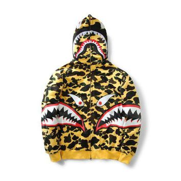 DCCK8H2 BAPE SHARK Autumn and winter tide brand camouflage Star Shark couple sweater men and women models zipper hooded plus coat