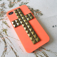 Bronze pyramid stud orange hard Case Cover For iPhone 4 Case, iPhone 4s Case, iPhone 4  Case,iPhone 4 GS case ,case cover-012
