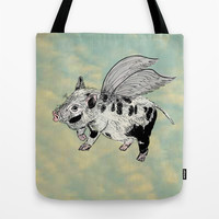 Pigs on the wing (Analog zine) Tote Bag by Kanika Mathur